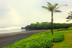 The black sand beach at Alila Villas Soori.