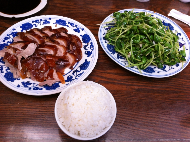 Roast duck, beansprouts and rice.